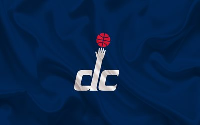 basketball, Washington Wizards, Basketball club, NBA, Washington, USA, emblem, Washington Wizards logo, blue silk