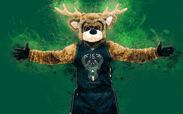 Bango, official mascot, Milwaukee Bucks, 4k, art, NBA, USA,