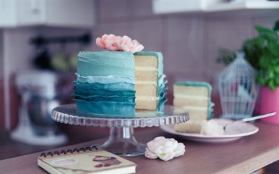 cake with blue cream, sweets, birthday cake, baked goods