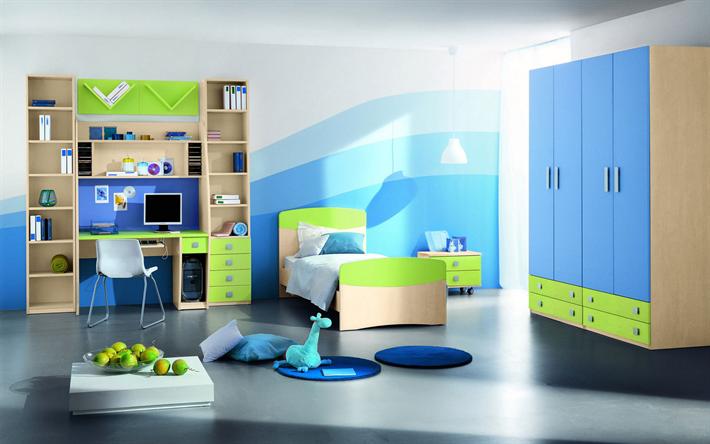 Télécharger Fonds Décran Moderne Bleu Vert Intérieur De La Chambre - Chambre enfant bleu et vert