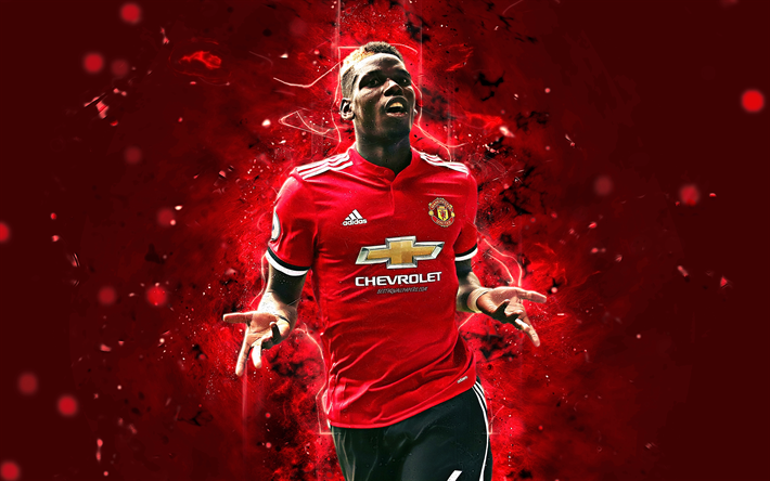 Download Wallpapers 4k Paul Pogba Abstract Art Football