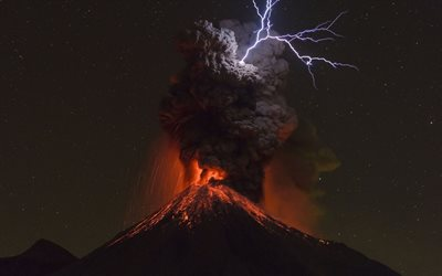 Volcan de Colima, volcanic eruption, night, lightning, natural phenomena, Colima Volcanic Complex, Jalisco, Mexico, active volcanoes, Earth