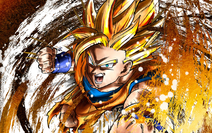 4k, Goku, grunge, Dragon Ball FighterZ, fan art, vortex, DBZF, Dragon Ball