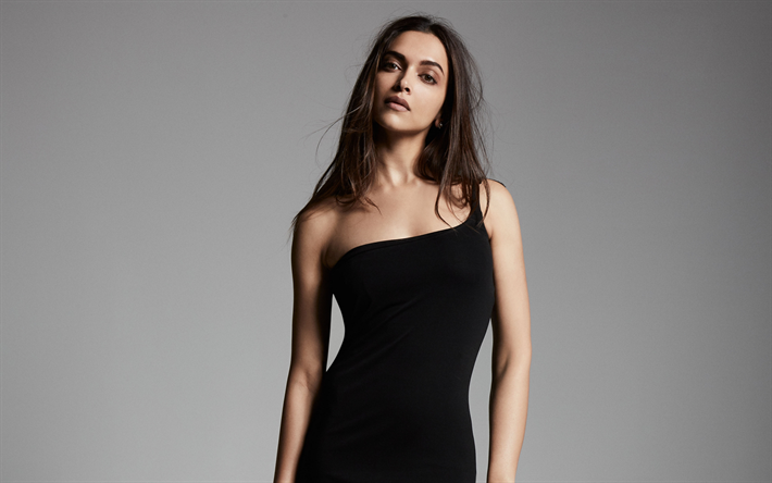 Deepika Padukone, photoshoot, indian actress, black dress, beautiful woman, fashion model, India, Bollywood