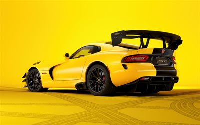 Dodge Viper SRT, back view, 2019 cars, tuning, supercars, yellow Dodge Viper, american cars, Dodge