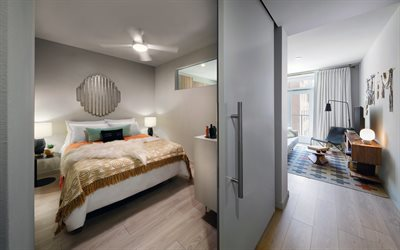 stylish apartments, modern interior design, bedroom and living room in one-bedroom apartments, distribution of space, stylish interior design