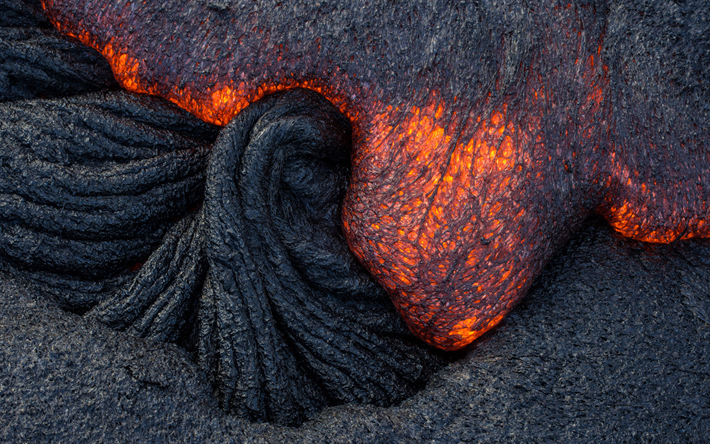 lava texture, volcano, red burning lava, macro, red-hot lava, fire background, lava, burning lava