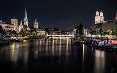 Zurich, Switzerland, evening, night, bridges, landmark, Zurich cityscape, river, Swiss cities, Lake Zurich