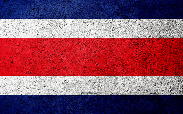 Flag of Costa Rica, concrete texture, stone background, Costa Rica flag, North America, Costa Rica, flags on stone