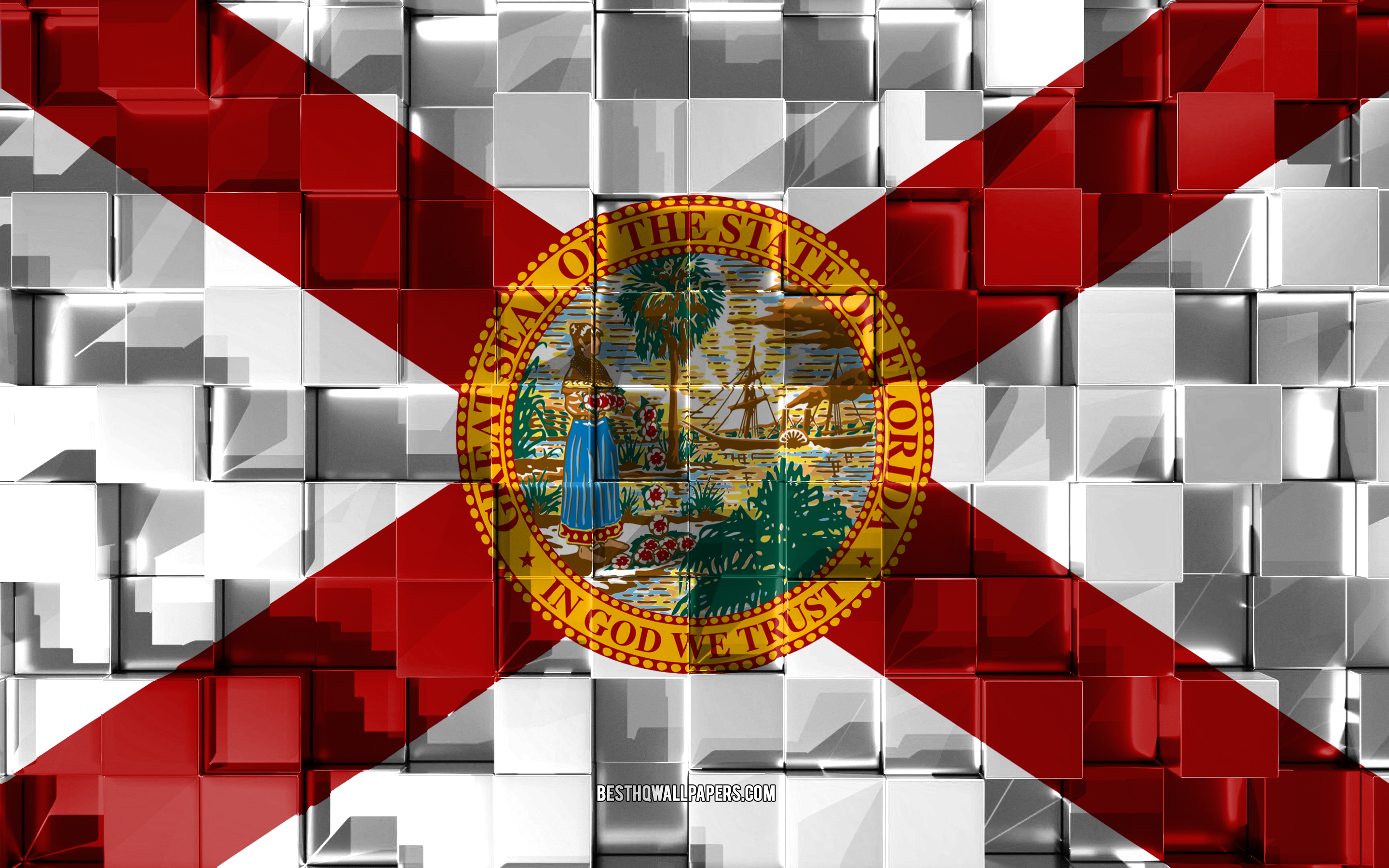 Flag of Florida, 3d flag, US state, 3d cubes texture, Flags of American states, 3d art, Florida, USA, 3d texture, Florida flag