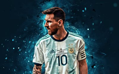 Lionel Messi, 2019, Argentina national football team, close-up, football stars, 2019 Copa America, abstract art, Leo Messi, soccer, Messi, Argentine National Team