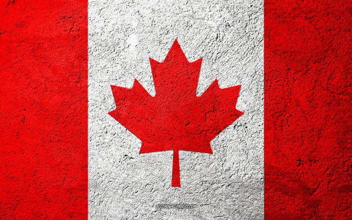 Flag of Canada, concrete texture, stone background, Canada flag, North America, Canada, flags on stone, Canadian flag