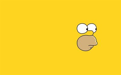 The Simpsons, yellow background, Homer Simpson