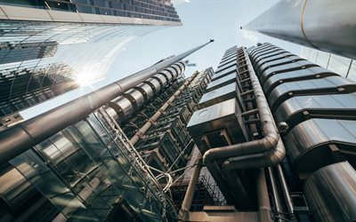 London, The Lloyds Building, 4k, tower, pipe, England