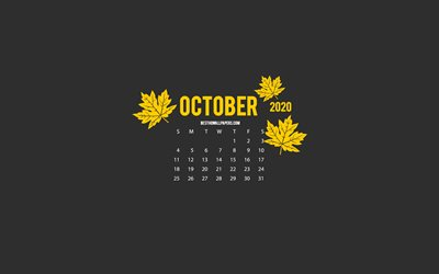 2020 October Calendar, minimalism style, gray background, October 2020 Calendar, autumn, 2020 calendars, Gray 2020 October Calendar, creative art