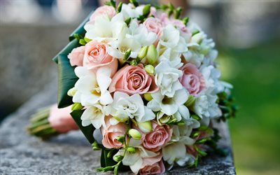 wedding bouquet, pink roses, bridal bouquet, roses, beautiful flowers, white pink bouquet