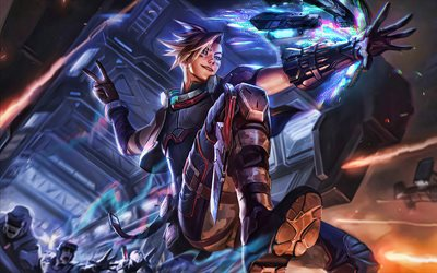 Ezreal, 4k, battle, MOBA, League of Legends, artwork, Legends of Runeterra, Ezreal League of Legends
