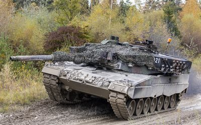 Char allemand, le Leopard 2, camouflage, camouflage net, leopard 2a6