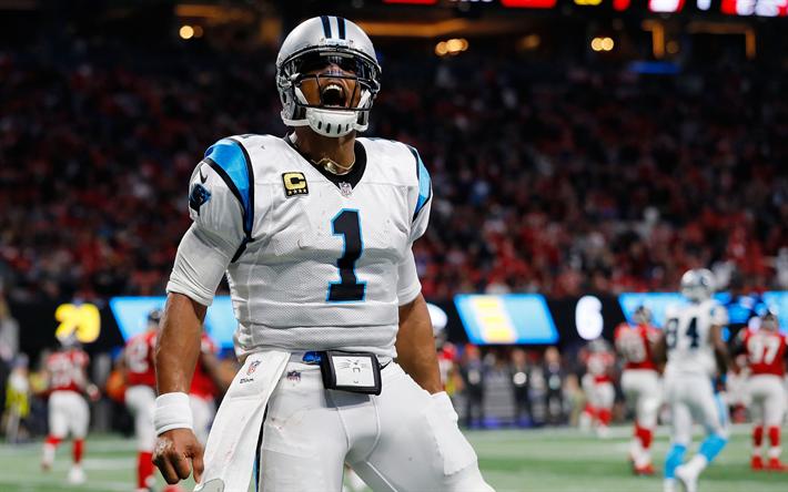 Cam Newton, 4k, american football, NFL