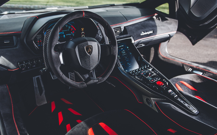 Download Wallpapers Lamborghini Centenario Interior 2018 Cars