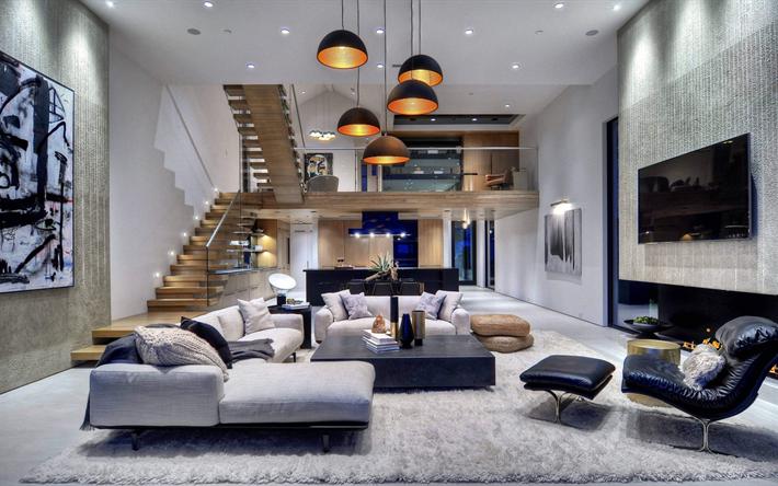 Good Landhaus, Luxuriöses, Modernes Interieur, Modernen Design, Treppe, Sofa,  Küche