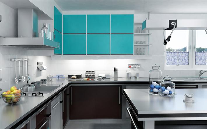 Descargar fondos de pantalla cocina moderna de diseño, azul armarios ...