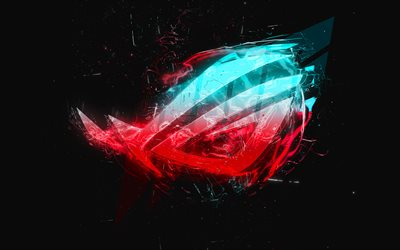 4k, Republic of Gamers, creative, RoG logo, ASUS, abstract logo, RoG, gray background