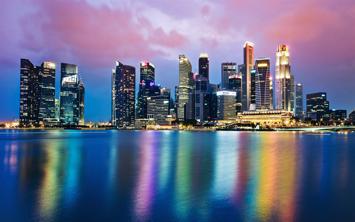 Singapore, skyscrapers, evening, sunset, cityscape, skyline, modern buildings, business centers, Asia