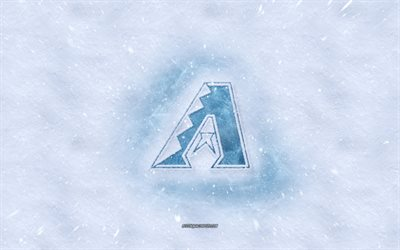Diamondbacks de Arizona logotipo, American club de béisbol de invierno conceptos, MLB, Diamondbacks de Arizona logotipo de hielo, nieve textura, Phoenix, Arizona, estados UNIDOS, nieve de fondo, Diamondbacks de Arizona, béisbol