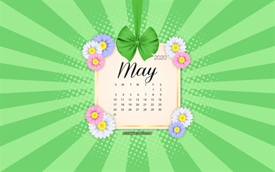 2020 May Calendar, green background, spring 2020 calendars, May, 2020 calendars, spring flowers, retro style, May 2020 Calendar, calendar 2020 with flowers