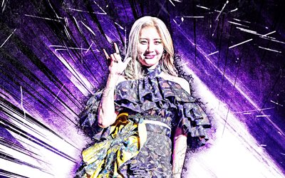 4k, Sunmi, grunge art, K-pop, Lee Sun-mi, south korean singer, violet abstract rays, South Korean celebrity, asian woman, beauty, Sunmi 4K