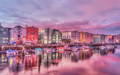 Trondheim, sunset, river, colorful houses, Norway, Europe