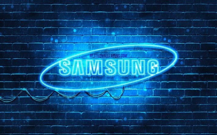 Download Wallpapers Samsung Blue Logo 4k Blue Brickwall Samsung Logo Brands Samsung Neon Logo Samsung For Desktop Free Pictures For Desktop Free