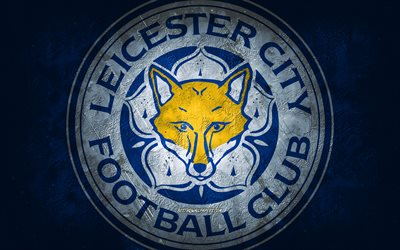 Leicester City FC, English football club, blue stone background, Leicester City FC logo, grunge art, Premier League, football, England, Leicester City FC emblem