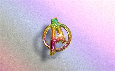 4K, Avengers logo, superheroes, colorful realistic balloons, colorful backgrounds, Avengers 3D logo, creative, Avengers