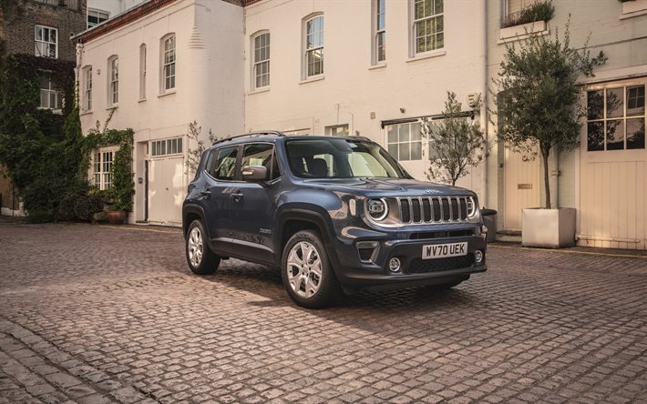 Jeep Renegade Limited, 2021, exterior, front view, gray SUV, new gray Renegade, american cars, Jeep