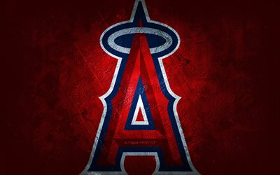 Los Angeles Angels, time de beisebol americano, fundo de pedra vermelha, logotipo do Los Angeles Angels, arte grunge, MLB, beisebol, EUA, emblema do Los Angeles Angels