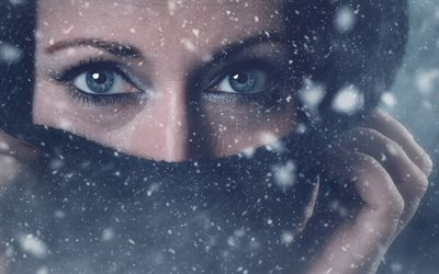 beautiful female eyes, winter, snow, scarf, cold concepts, eyes