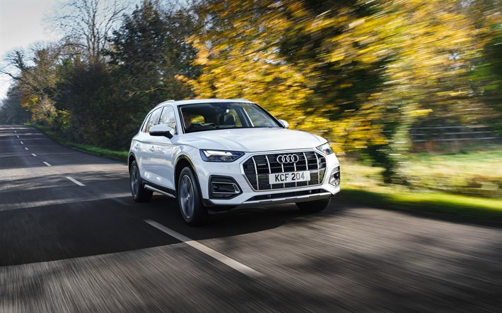 Audi Q5, 4k, road, 2020 cars, crossovers, UK-spec, motion blur, 2020 Audi Q5, german cars, Audi
