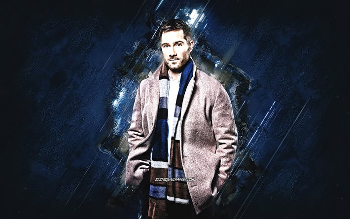 Luke Macfarlane, Canadian Actor, Portrait, Blue Stone Background, Creative Art, Popular Actors