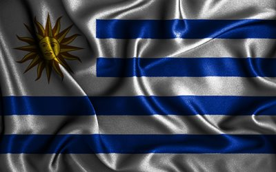 Uruguayan flag, 4k, silk wavy flags, South American countries, national symbols, Flag of Uruguay, fabric flags, Uruguay flag, 3D art, Uruguay, South America, Uruguay 3D flag