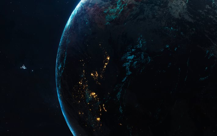 Asia from space, 4k, night, galaxy, Earth, stars, sci-fi, universe, NASA, planets, Earth from space