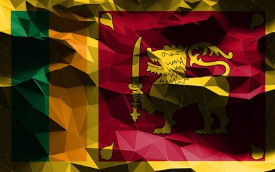 4k, Sri Lankan flag, low poly art, Asian countries, national symbols, Flag of Sri Lanka, 3D flags, Sri Lanka flag, Sri Lanka, Asia, Sri Lanka 3D flag