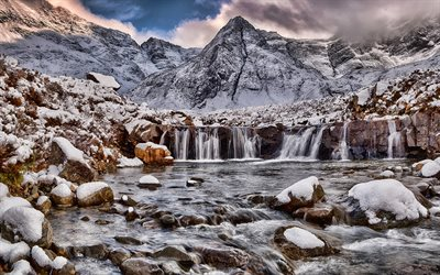 Isle of Skye, 4k, winter, waterfalls, mountains, Scotland, United Kingdom, beautiful nature, HDR