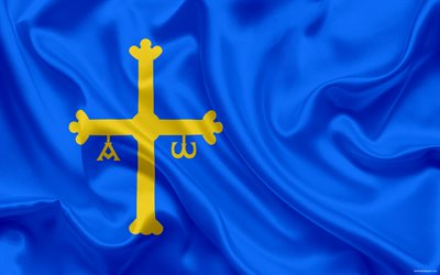 Flag of Asturias, autonomous community, Spain, Asturian principality, silk flag, coat of arms