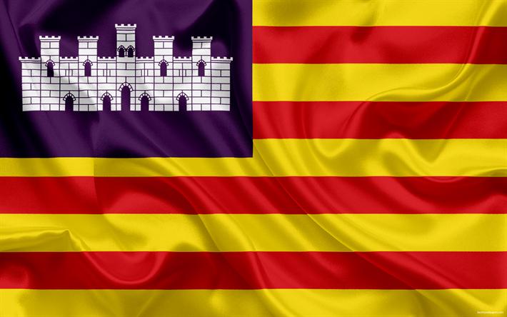Lataa kuva Lippu Baleaarien, autonominen, Espanja, Baleaarit, silkki lippu ilmaiseksi. Kuvat ...