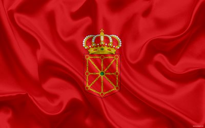 Flag of Navarra, autonomous region, spain, kingdom Navarra, silk flag, Navarra coat of arms