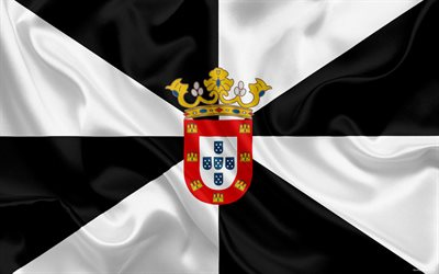 Flag of Ceuta, autonomous region, Spain, Ceuta, Gibraltar, silk flag, coat of arms