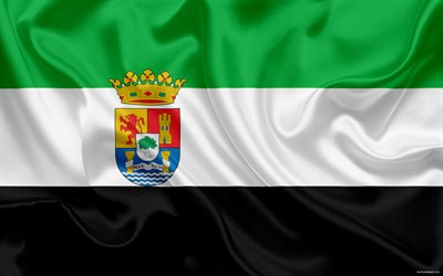 Flag of Extremadura, autonomous community, province, Extremadura, Spain, silk flag, Extremadura coat of arms