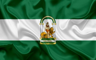 Flag of Andalucia, autonomous community, province, Spain, Andalucia, silk flag, Andalucia coat of arms